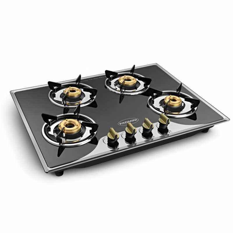Padmini 4 Burner Crystal Black Built-in Gas Hob, CS-400 GL-IB