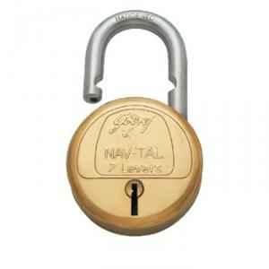 Godrej Navtal 7 Levers Brass Padlock (3 Keys), 3292