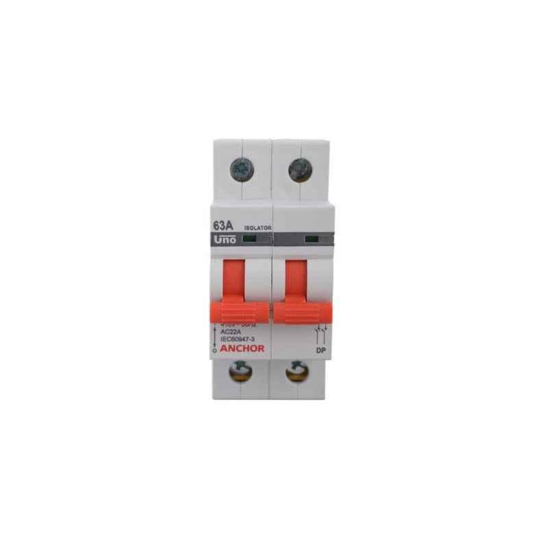 Anchor Double Pole 63A UNO Series White Isolator, 9856