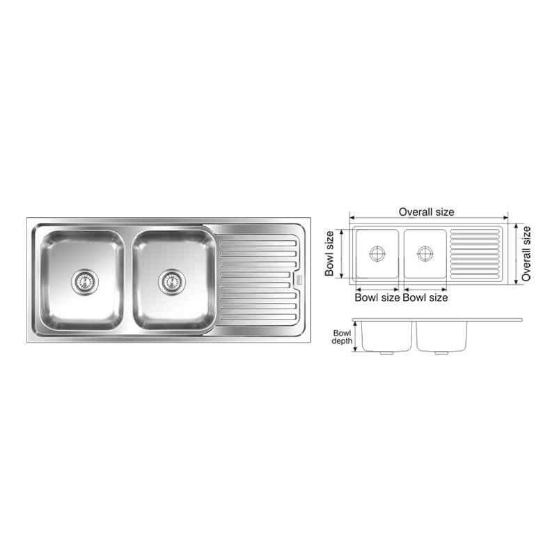 Nirali Graceful Elegance Satin Finish Kitchen Sink, Size: 1550x510 mm