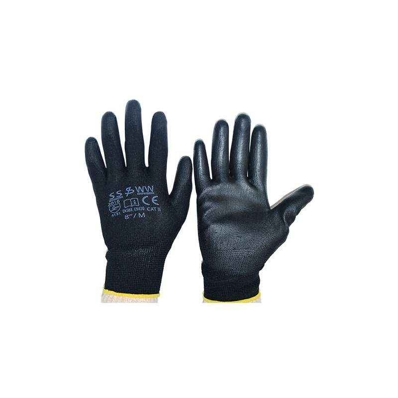 SSWW Black PU Palm Coated Gloves, SSWW118 (Pack of 10)