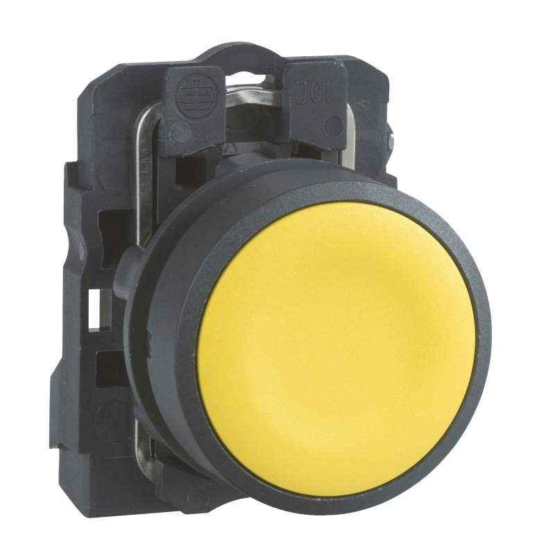Schneider XB5 NO Contact Type Flush Spring Return Yellow Push Button, XB5AA51N