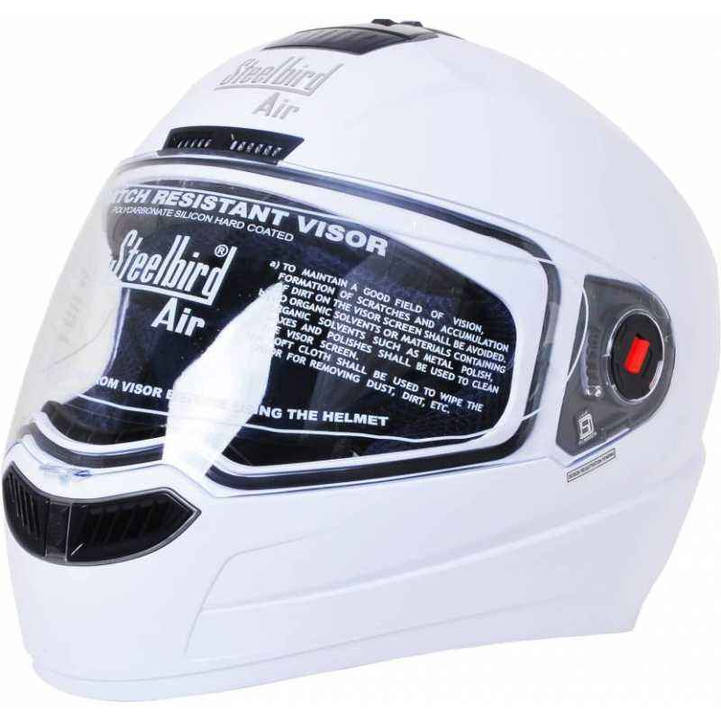 Steelbird Air Dashing Motorbike White Full Face Helmet, Size (Medium, 580 mm)