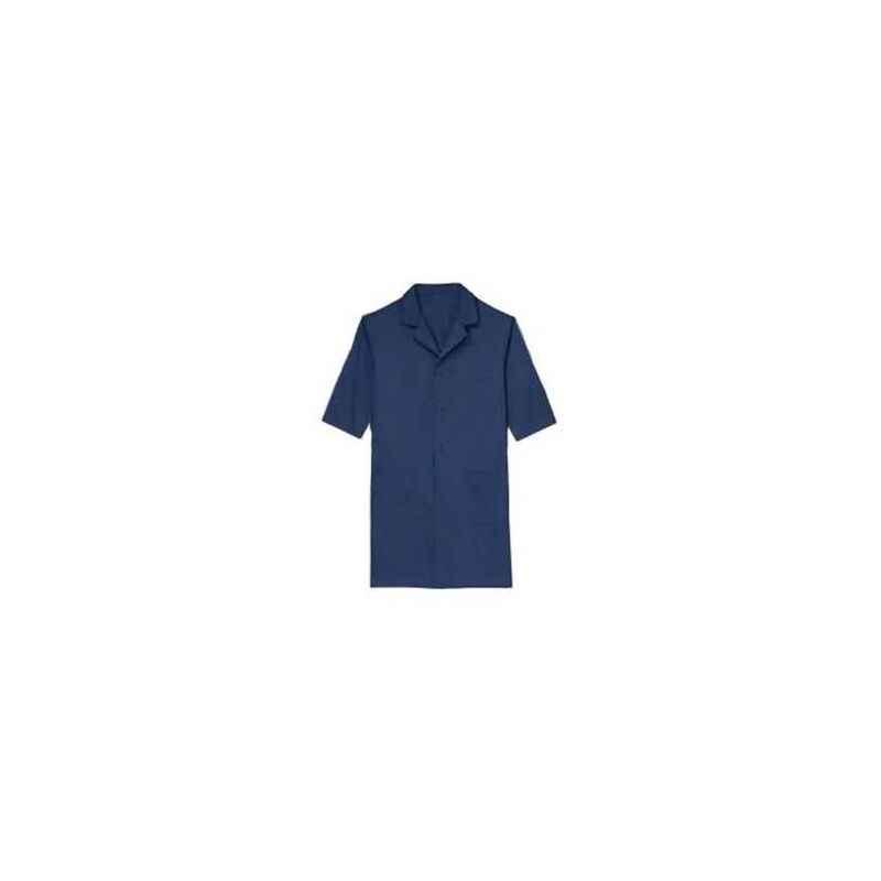 Ishan Navy Blue Terry Cotton Half Sleeve Lab Coat, 5433, Size: XXL