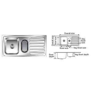 Nirali Fabulous Anti Scratch Finish Kitchen Sink, Size: 1040x510 mm