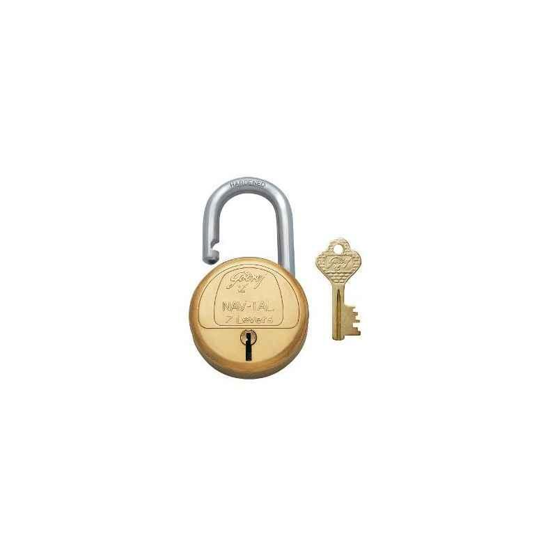 Godrej Navtal 7 Levers Brass Padlock (2 Keys), 3290