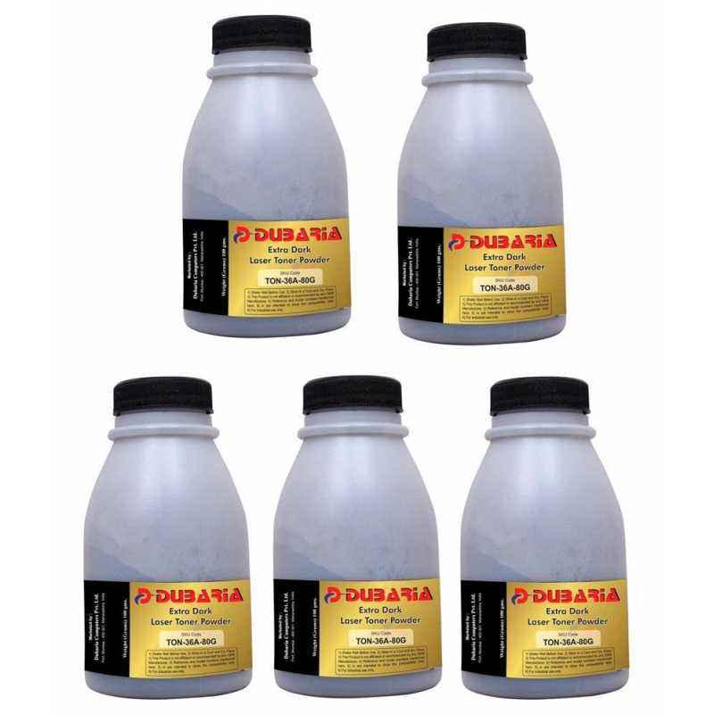 Dubaria Extra Dark Powder Toner Cartridge For HP Printers (Pack of 5)