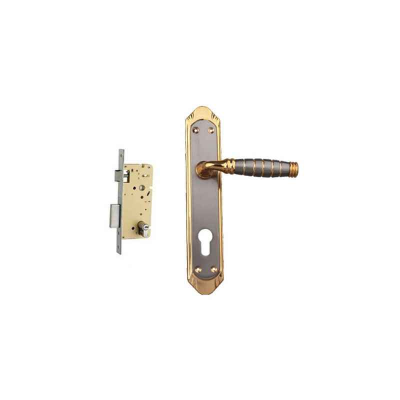 Plaza Tissot Gold Silver Finish Handle with 250mm Pin Cylinder Mortice Lock & 3 Keys
