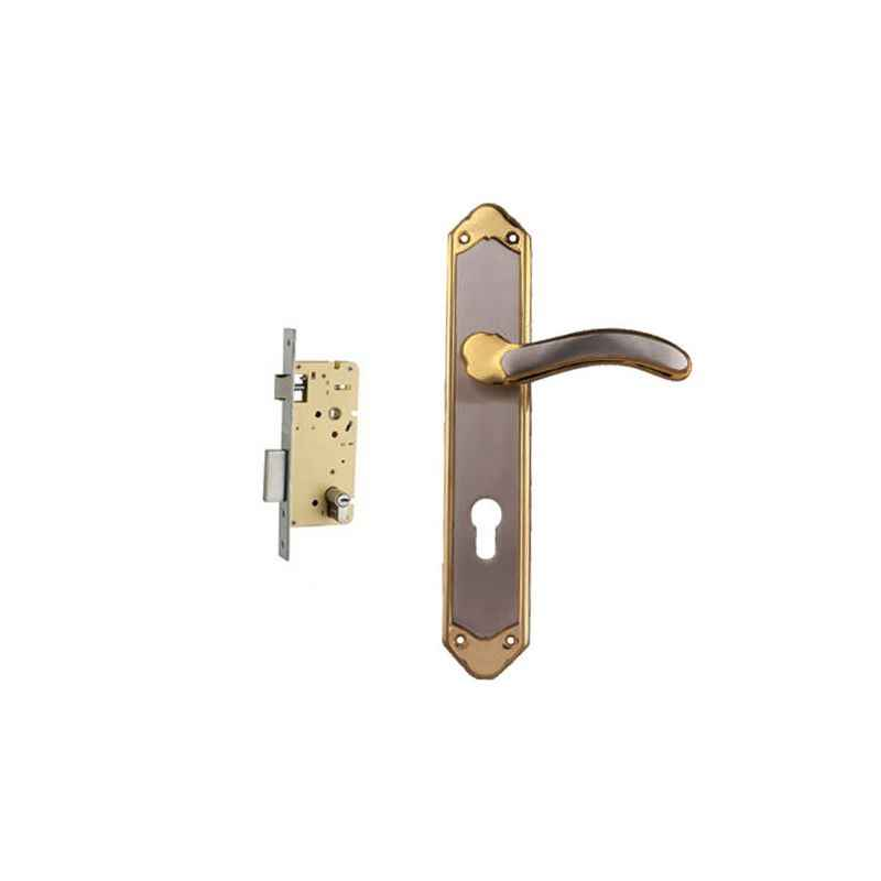 Plaza Golf Gold Silver Finish Handle with 250mm Pin Cylinder Mortice Lock & 3 Keys