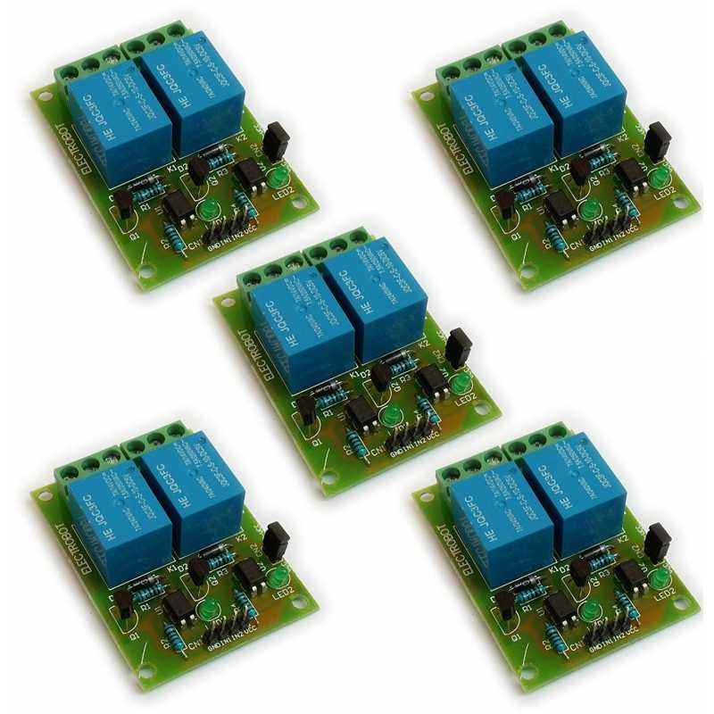 Electrobot 2 Channel 5V Relay Module with Optocoupler Low Level Trigger (Pack of 5)
