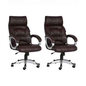 Mezonite High Back Leatherette Brown Meeting Room Office Chair (Pack of 2)