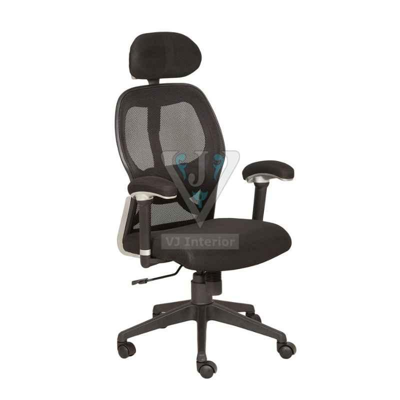 VJ Interior 18x18 inch Black High Back Mesh Revolving Chair With Neck Support, VJ-1629