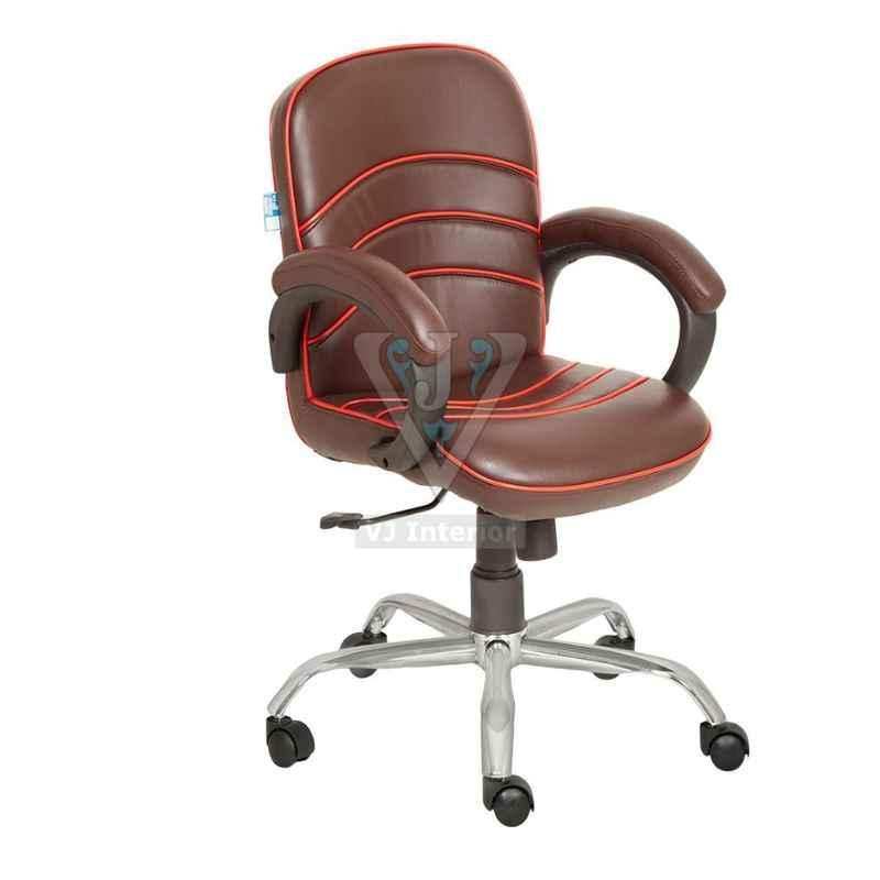VJ Interior 18x17 inch Brown Low Back Executive Office Chair With Red Outline, VJ-1639