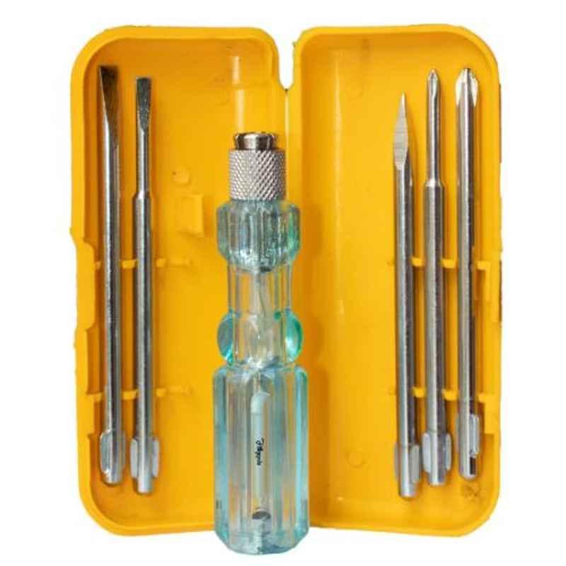 Hillgrove 5 in 1 Multipurpose Repair Screwdriver Tool Kit with Neon Bulb Tester, HG0039