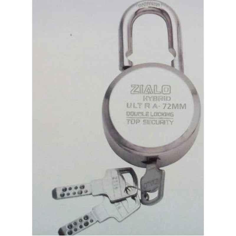 Smart Shophar 72mm Steel Silver Zialo Padlock, SLK80PD-ZIAL-SL72-P1