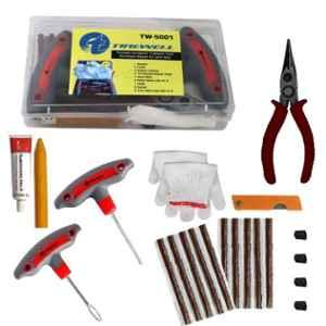 Tirewell TW-5001 9 in 1 Universal Flat Tire Puncture Repair Kit for Cars & Bikes
