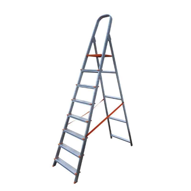 Aguerri Eco 8 Step Orange Silver Coated Aluminium Foldable Ladder with Platform, 4044