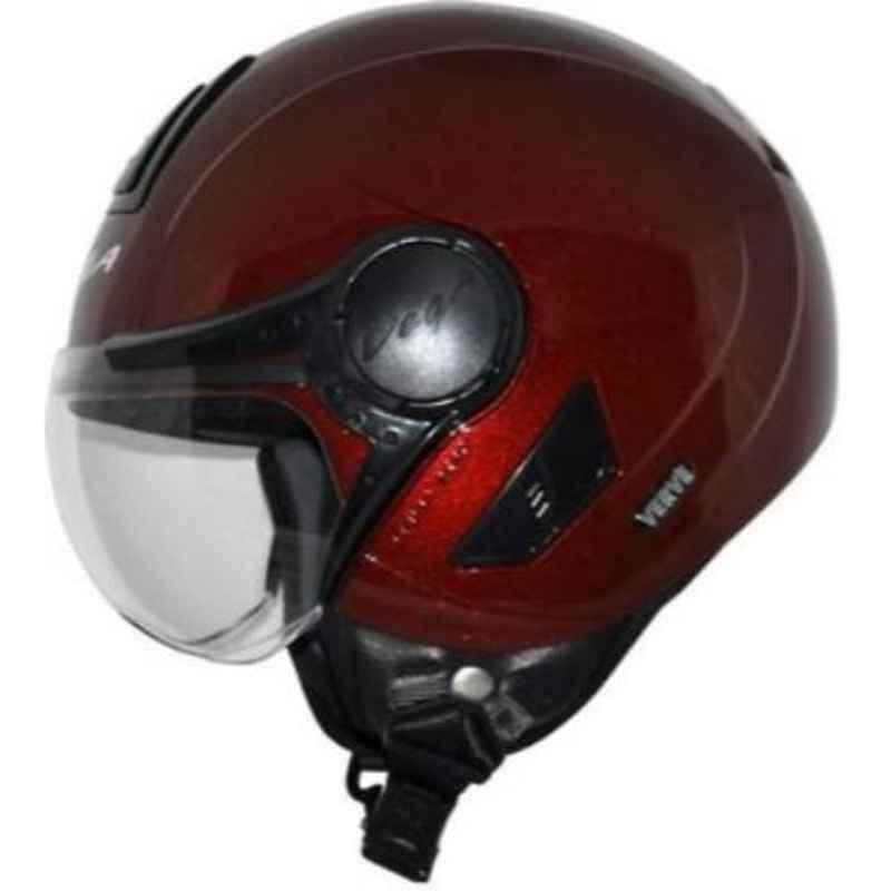 Vega Verve Burgundy Open Face Motorbike Helmet, Size (M, 570 mm)