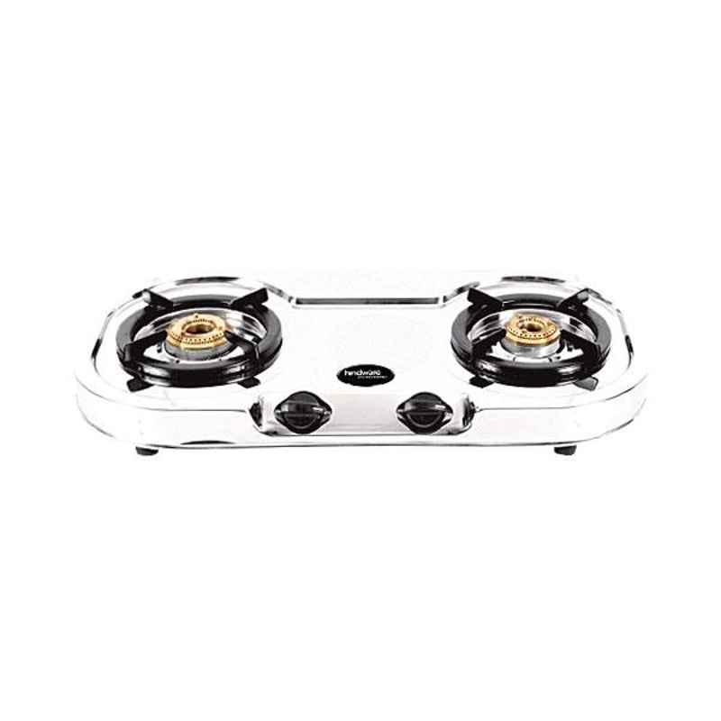 Hindware Vito SS DLX 2B 2 Burner Silver Manual Ignition Stainless Steel Gas Stove