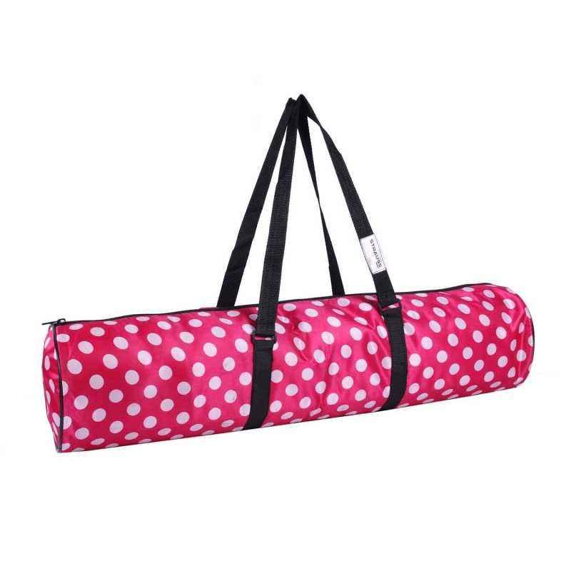 Strauss Nylon Polka Dots Pink Full Zip Yoga Mat Bag