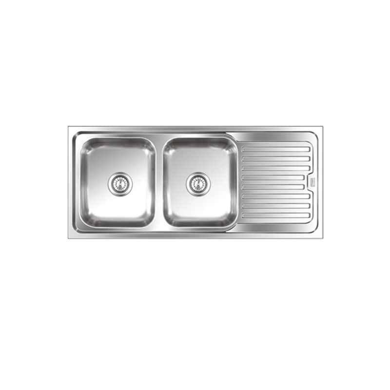 SteelKraft DSDB-121 Double Bowl Stainless Steel Sink with Drain Board, Size: 20x16 inch