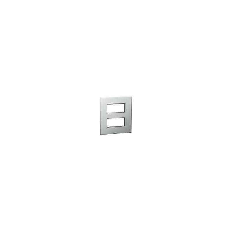 Legrand Arteor 2x4 Module Pearl Aluminium Square Cover Plate With Frame, 5757 61
