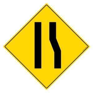 Asian Loto 3 m Traffic Sign Road Narrows on Right Sign Board, ALC-SGN-10-900