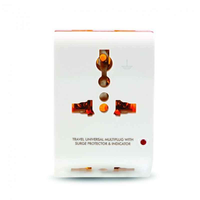 GM 3011 2 Pin Travel Universal Multi Plug with Surge Protector & Indicator