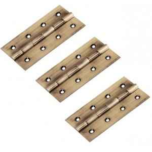 SmartShophar Brass Antique Butt Hinges, Size: 3x1.5 Inch, 54744-BBH-AN75-P3 (Pack of 3)