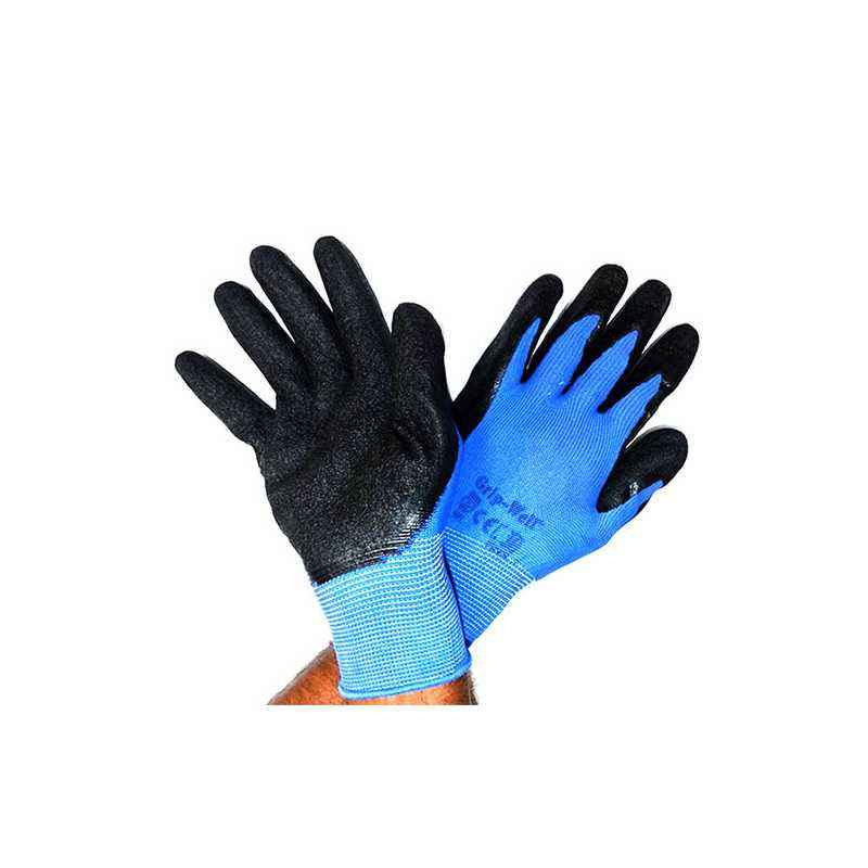 SSWW Blue Nylon Shell with Black Crinkle Latex Palm Coated Gloves, SSWW104 (Pack of 10)