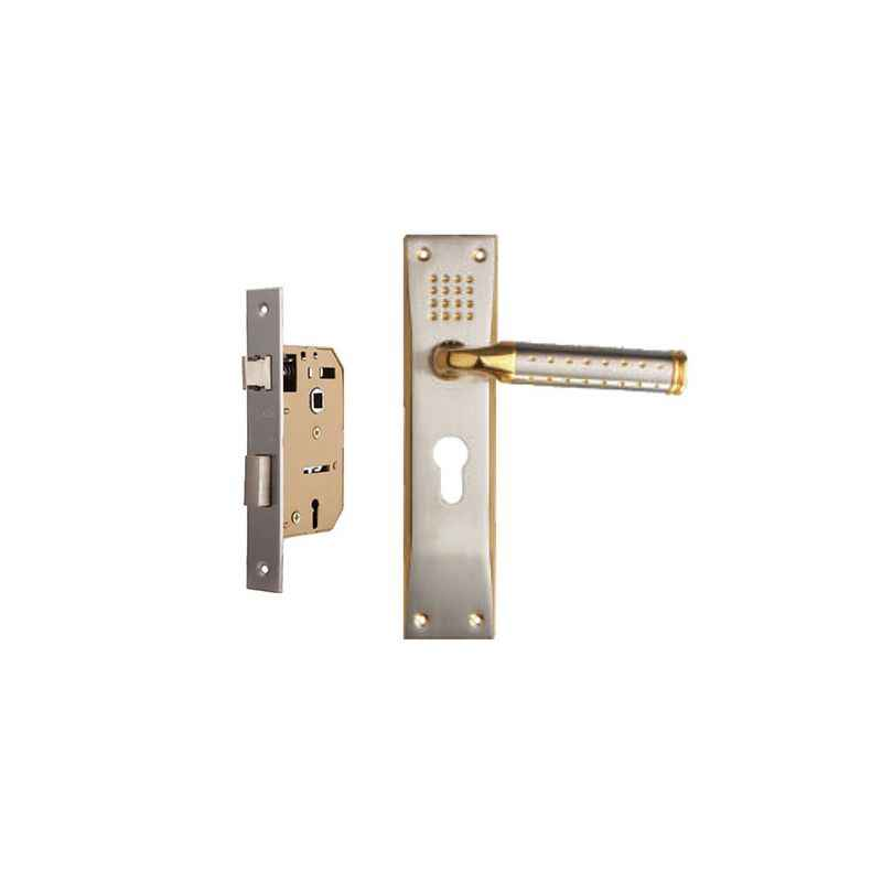 Plaza Platinum 65mm Mortice Lock with Gold Silver Handle & 3 Keys