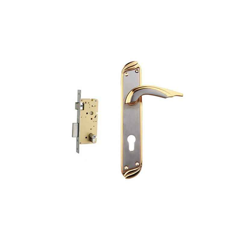 Plaza Aveo Gold Silver Finish Handle with 250mm Pin Cylinder Mortice Lock & 3 Keys