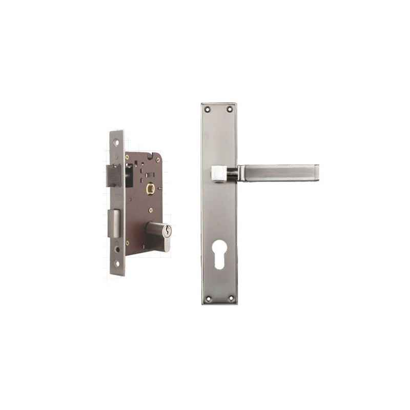 Plaza Pluto Gold Silver Finish Handle with 200mm Pin Cylinder Mortice Lock & 3 Keys