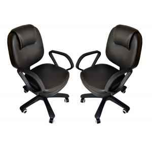 Mezonite Low Back Leatherette Black Office Chair (Pack of 2)