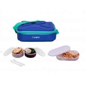 Carrolite 650ml Blue & White Plastic Lunchbox, White_P-40