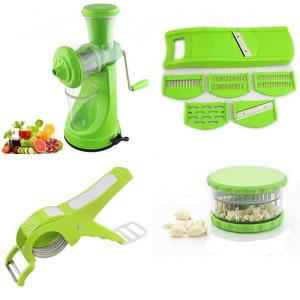 SM Combo of Green Fruit Juicer, 6 In 1 Vegetable Cutter, 2 In 1 Vegetable Cutter Cum Peeler & Garlic Crusher