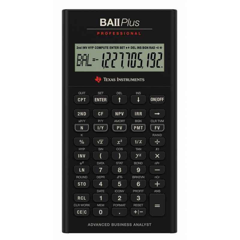 Texas Instruments BA II Plus Professional 10 Digit Calculator