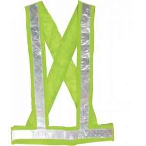 KT Green Safety Cross Belt with 2 Inch Reflective Tape (Pack of 10)