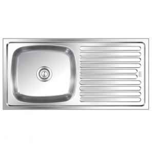 SteelKraft SSDB-114A Single Bowl Stainless Steel Sink with Drain Board, Size: 16x24 inch