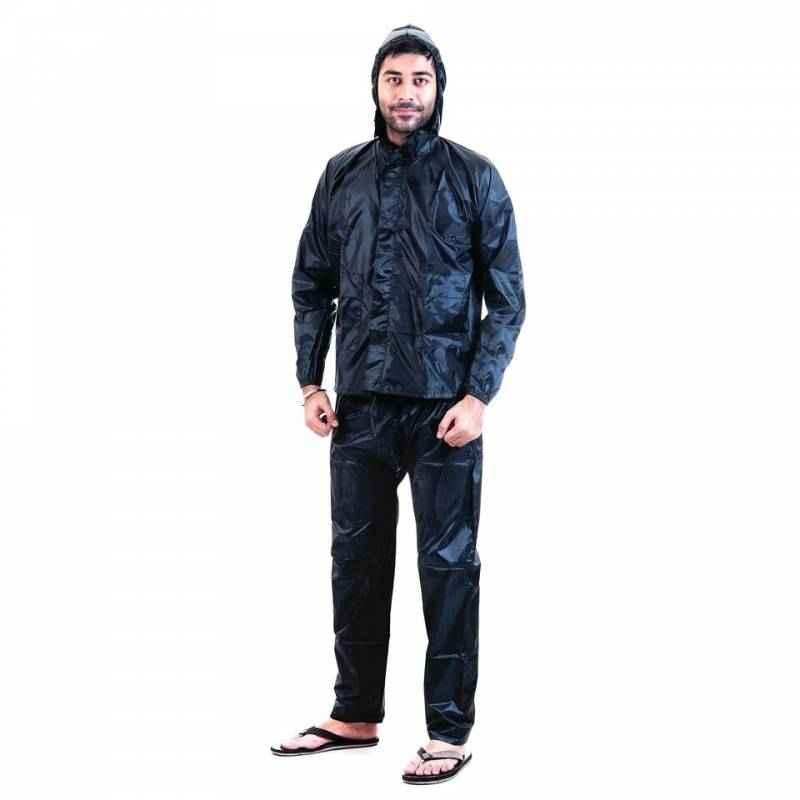 Safies Black Polyester Raincoat, Size: L