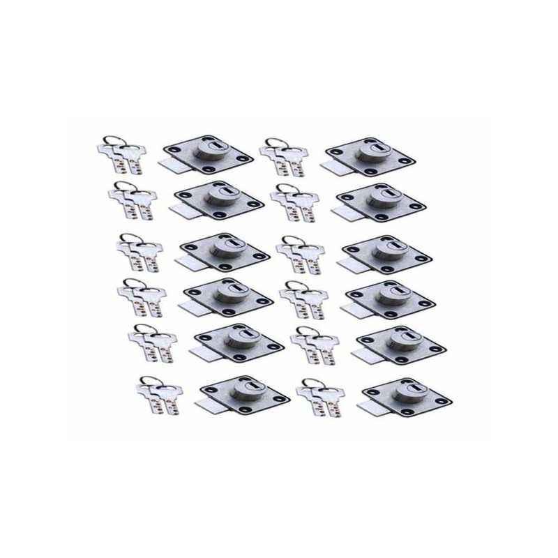 SmartShophar 30mm Zinc Silver Queen Multipurpose Locks, 54216-MPLQ-SL30-P12 (Pack of 12)