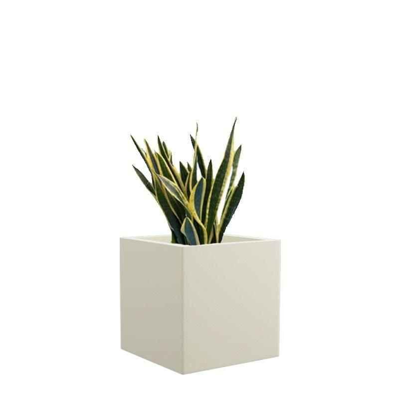 Yuccabe Italia 8 Inch Square Pleasant White Hybrid Polymer Planter, BAR0808