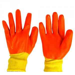 SSWW Yellow Nylon Shell with Orange PVC Full Dipped Gloves, SSWW121 (Pack of 5)