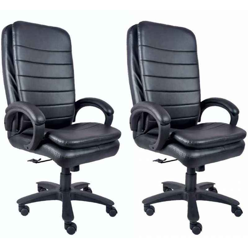 Mezonite High Back Leatherette Black General Purpose & Office Chair (Pack of 2)