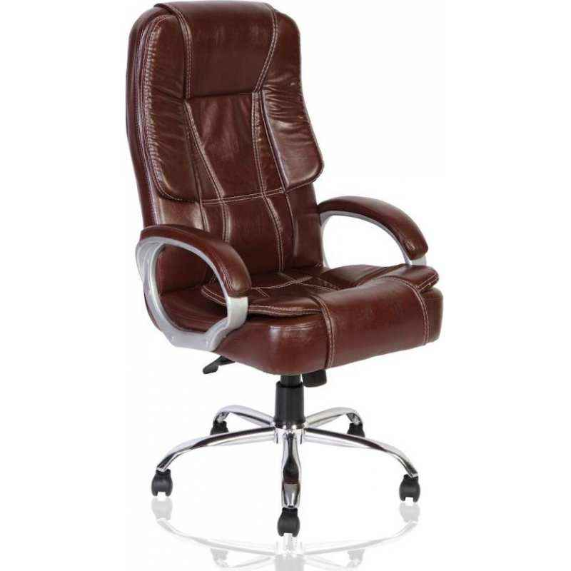 Mezonite Medium Back Synthetic Leatherette Brown Office Chair