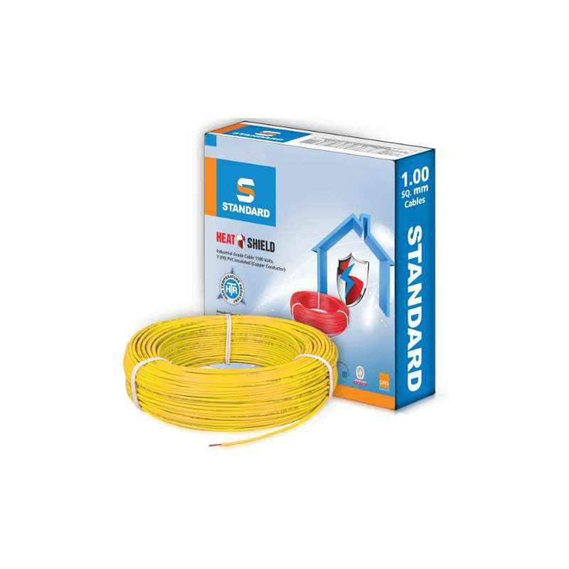 Standard 6 Sq mm 90m Yellow PVC FR Industrial Cables by Havells, WSFFDNYA16X0