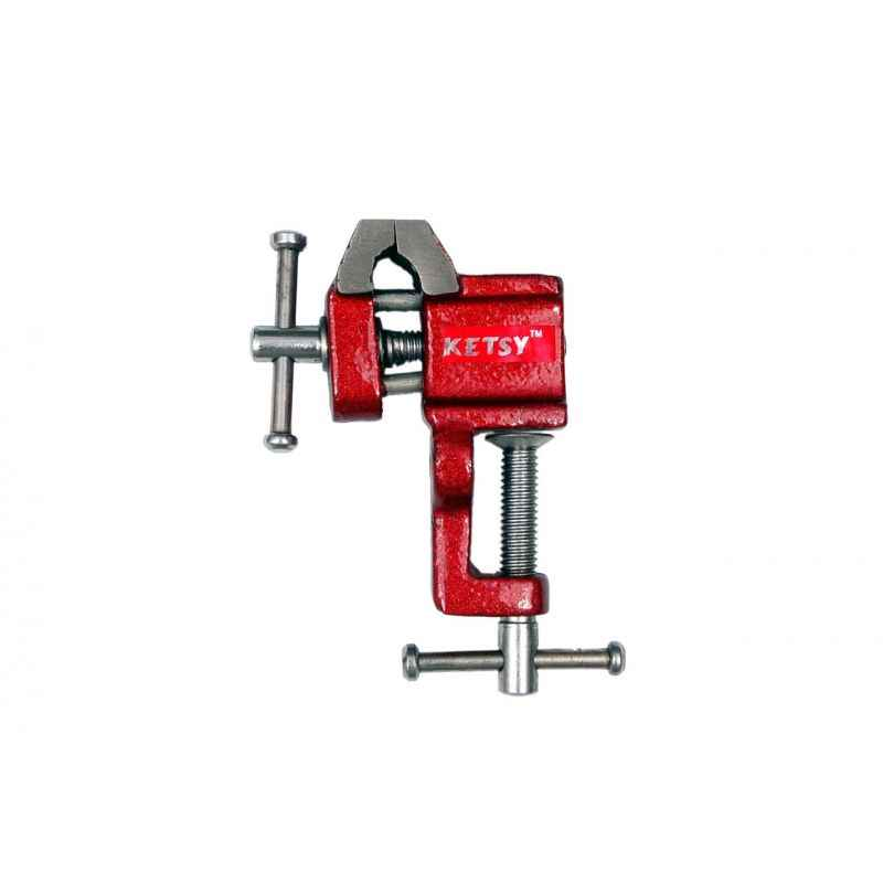 Ketsy 842 Red Iron Cast Baby Vice with Clamp, Size: 25 mm