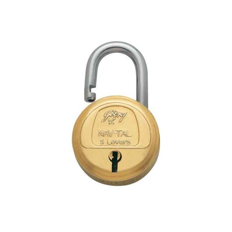 Godrej Navtal 5 Levers Brass Padlock (3 Keys), 3060