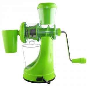 SM Elegant Green Manual Hand Fruit Juicer, Steel Handle & Vacuum Lock