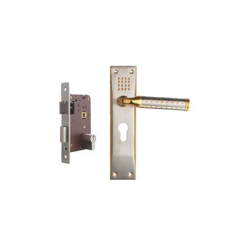 Plaza Platinum Gold Silver Finish Handle with 200mm Pin Cylinder Mortice Lock & 3 Keys